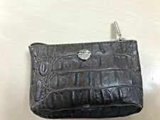Ladies Leather Coin Purse By Texier Full Grain Leather Croco Effect Brown #S32