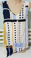 FATE CLOTHING BAUHAUS TANK TOP AUSTRALIA SINGLET BLUE YELLOW WHITE LADIES SIZE 8