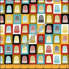 "CLOUD 9 ""MAD MEND"" THIMBLES SEWING THEME NOTIONS COTTON FABRIC FQ 18"" X 22"""