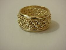 14K YELLOW GOLD BOLD TRIPLE WRAPPED ROPE BAND RING NEW SIZE 6