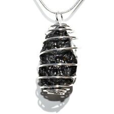 "CHARGED LG Natural Tibetan Tektite Perfect Pendant™ + 20"" Silver Chain SYN 12"