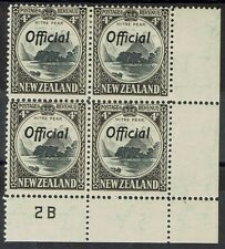 NEW ZEALAND 1936 OFFICIAL PICTORIAL 4D PLATE 2B BLOCK PERF 12.5