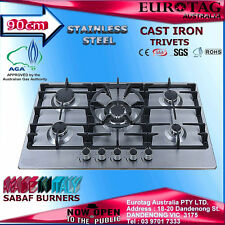 EUROTAG 900MM/90CM S/S Gas Cooktop with Heavy Duty Cast Iron and Wok Burner