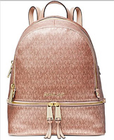 🌺🌹 Michael Kors Metallic Signature Rhea Zip Backpack Soft Pink/Rose Gold