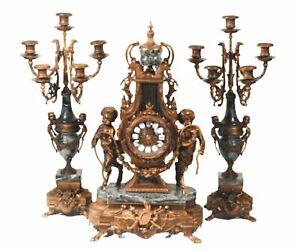 Clock, Italian Garniture Set, Bronze & Green Marble Mantle, Striking Decor!