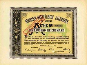Rh.-Westf. Kalkwerke Dornap Aktie 1922 Wuppertal Wülfrath Rheinkalk Lhoist NRW