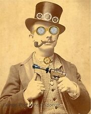 Steampunk Man Art Print 8 x 10 - Victorian Altered Art Collage - With Ray Gun