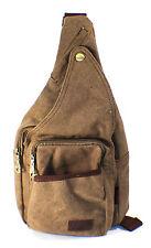 BROWN Canvas Messenger Sling Body Bag Backpack Sport Day Hiking Bag