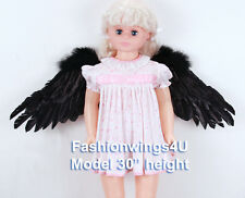Children's Black side span spread feather angel wings swan lake costume props