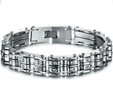 "9""Fashion Bangle Jewelry Crystal Drill Chain Design Stainless Steel Men bracelet"