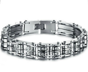"""9""""Fashion Bangle Jewelry Crystal Drill Chain Design Stainless Steel Men bracelet"""