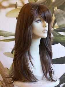 FULL WOMENS LONG HEAT RESISTANT HAIR WIG BROWN BLONDE BLACK & RED KIMS WIGS UK