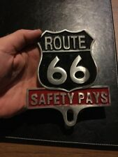 Route 66 SAFETY PAYS Antique Style Auto License Plate Classic Car Auto Hotrod Vg