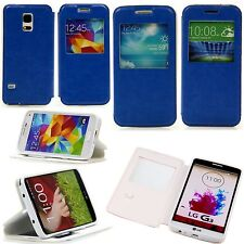 Samsung Galaxy s4 funda con lengüeta, funda estuche plegable View Window cover azul