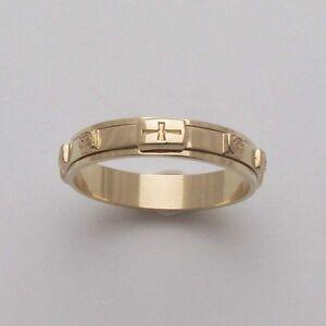 RG75 Rosary Ring K14 Solid Gold Rose Cross