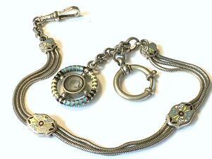 Very Victorian German Watch Chain Enamel Slide Chain Gesetzlich Geschützt