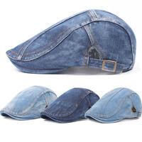 Men Denim Blue Peaked Ivy Cap Golf Driving Flat Solid Cabbie Newsboy Beret Hat