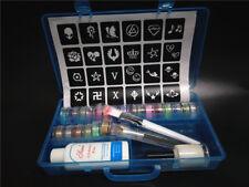 24 Color Glitter Tattoo Powder Temporary Tattoo Stencils Kit for Body Paint Art