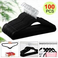 New 100P Flocked Non Slip Hanging Bar Clothes Suit/Shirt/Pants Hangers Set US