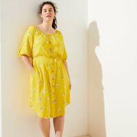 NWT Ann Taylor Loft Plus Yellow Floral Print Button Front Dress Tie Waist Sz 16