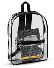 CLEAR TRANSPARENT SCHOOL SECURITY BACKPACK SHOULDER TRAVEL BOOK BAG