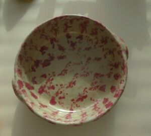 Bybee Pottery Spongeware Pink/Rose/Rasperry & Beige Deep Serving Bowl w/ Handles