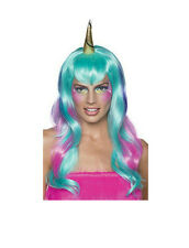 Women's Pink Purple and Pastel Blue Unicorn Fairy Wig