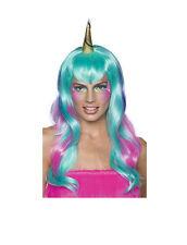 Women's Pink Purple and Pastel Blue Unicorn Fairy Wig