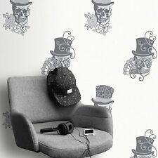 Rasch Black and White Metallic Sugar Skull Rose Glitter Feature Wallpaper 308914