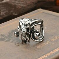 Men's Huge 3D Goat Ram Skull Long Horn Ring 316L Stainless Steel Punk Rock Biker