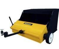 """Large 42"""" Tow Behind Lawn Sweeper Tractor ATV Leaf Grass Collector Yard Vacuum"""