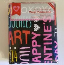 Valentines Day Vinyl Tablecloth 60 x 84 Chalkboard Typography Words Phrases Love