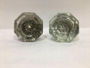 2 Vintage Antique Glass Crystal 8 Point Side Octagon Shape Door Knobs