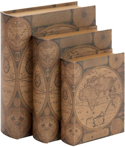 28052 Book Box Old World Map Faux Leather Set Of 3 Brown Globe