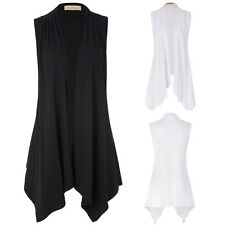 Women Lady Casual Sleeveless Irregular Hem Vest Blouse Cardigan Long Tops Shawl