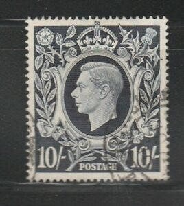 1939-48 GB KGVI Definitive 10/ Dark Blue used Stamp
