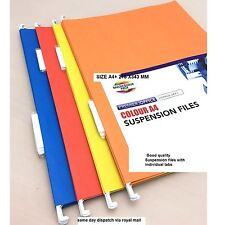 20 x Colour FOOLSCAP Hanging Suspension Files Filing Cabinet Large Paper Folders