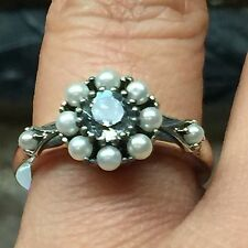 New listing Natural Aaa .5ct Aquamarine, Seed Pearl 925 Solid Sterling Silver Ring sz 9