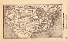 1888 Antique United States Map Rare Miniature Size Collectible Usa Map 7943