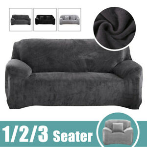 1/2/3 Seater Sofa Covers Easy Fit Stretch Protector Soft Couch Cover Velvet UK