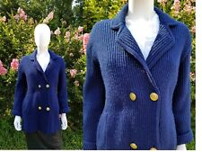 Vtg St. Michel Navy Nautical ribbed double breasted knit cardigan