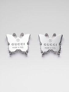 Gucci Sterling Silver Logo Butterfly Stug Earrings | New In Box