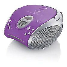 Children Girls Portable Stereo Music System CD Radio Boombox Lenco SCD 24 Purple