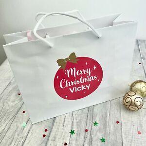 PERSONALISED MERRY CHRISTMAS GIFT BAG, Luxury White Bag Festive Christmas Bauble