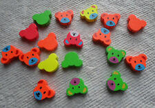 Wooden ~ Teddy Head Beads ~ Assorted Colours