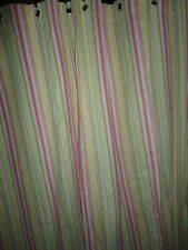 POTTERY BARN KIDS PINK GREEN YELLOW & WHITE STRIPE SHOWER CURTAIN 72 X 72