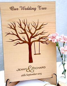Personalised Wooden Fingerprint Tree & Stand, Wedding Guestbook FREE INK PADS