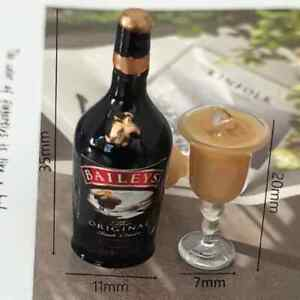 DOLLS HOUSE BOTTLES OF BAILEYS AND GLASS SET
