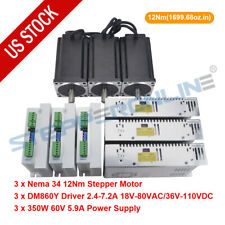 3 Axis Cnc Router Kit 12nm Nema 34 Stepper Motor 6a Amp Driver Amp Power Supply