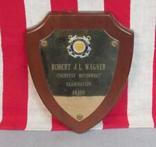 Vintage 1967 US Coast Guard Aux Motorboat Award Plaque Robert JL Wagner Military